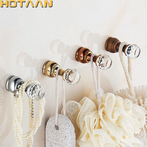 Crystal Hook Antique Brass Wall Clothes Rack Cloth Hook Wall Hook Robe Hook For Bathroom Accessory Hanger Copper Material YT3011(China)