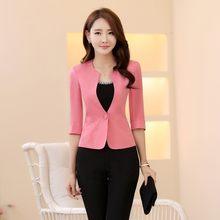 f0fdd2b2215a Spring Summer Formal Female Pink Blazers Women Jackets Coat Half Sleeve  Blaser Ladies Office Uniform Style Work Wear Clothes