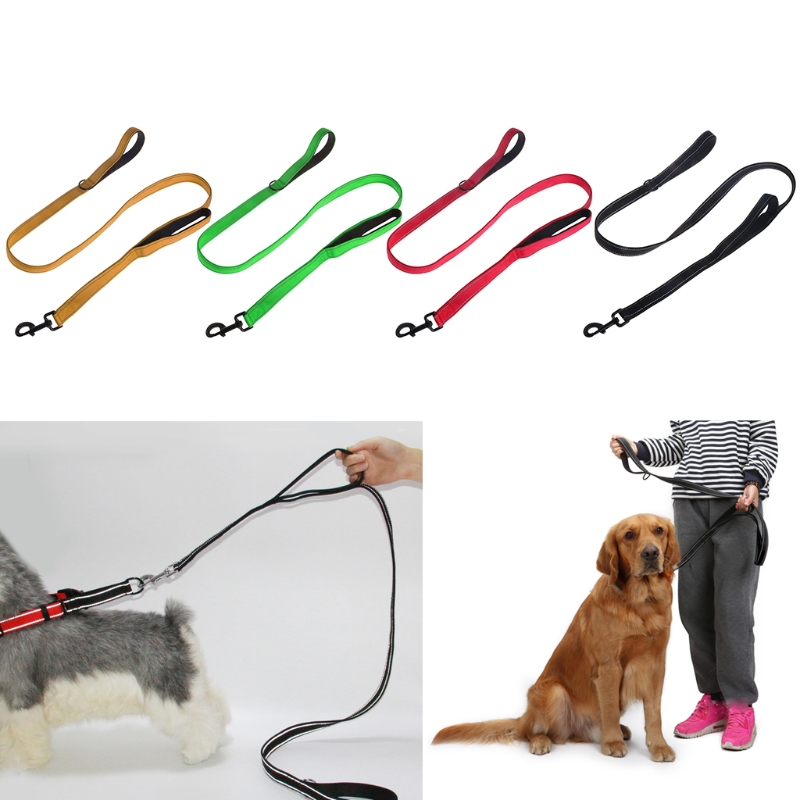 Double 2 Handles Dog Leash Smooth Nylon Rope Reflective Pet Lead Puppy Dogs Safety Protect