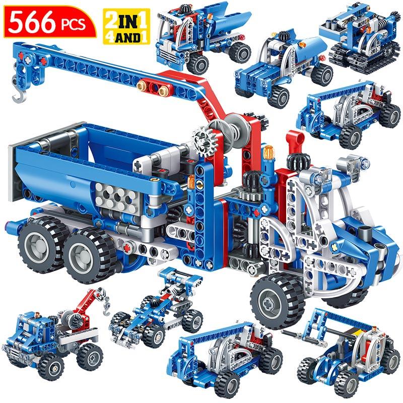 566pcs Technic Construction Vehicle Dump Truck Racing Car Model Building Blocks City Truck Bricks Toys For Boys