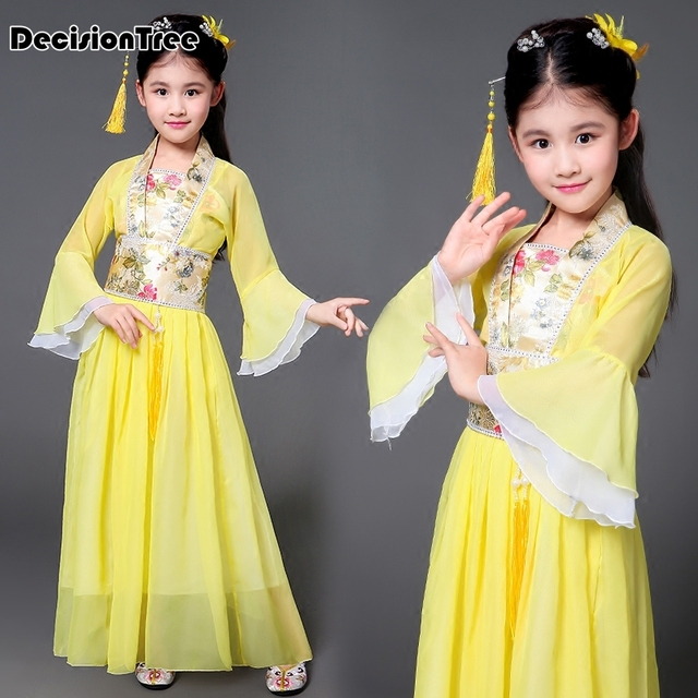 2019 new children traditional ancient chinese silk clothing for girls hanfu dance costumes folk costume kids tang fairy dress