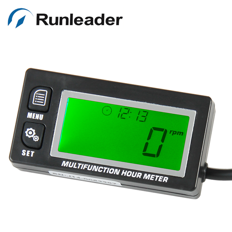 Runleader New Functional Digital Inductive ATV Gasoline Engine Hour Meter Maintenance Reminder Counter Record Max RPM Tachometer
