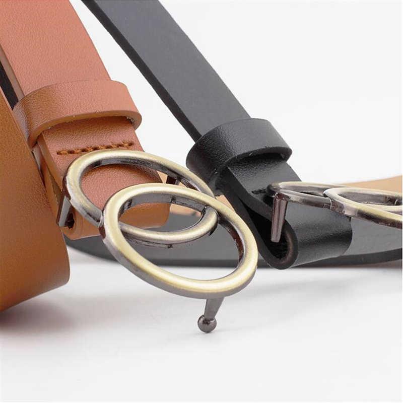 Podwójny pierścień klamra Vintage pasek damski dżinsy dzikie pasy dla kobiet moda studenci prosty nowy koło Pin klamry pasa