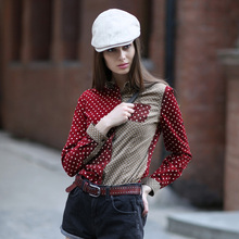 Spring Autumn Corduroy Cotton Shirts Fashion Polka Dot Shirt Women Long Sleeve Blouse POLO Collar Casual Fitted Slim Basic Tops