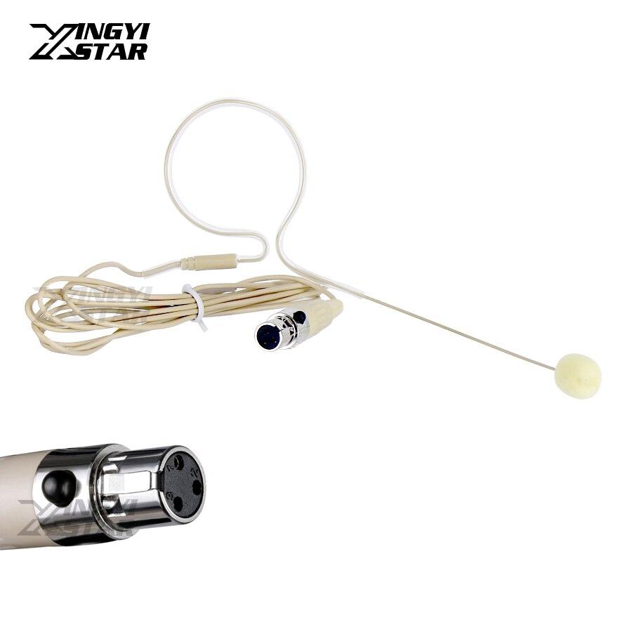 10Pcs Skin Color Mini XLR 3 Pin TA3F Single Earhook Condenser Headset Microphone Mike For SAMSON Wireless Body-Pack Transmitter