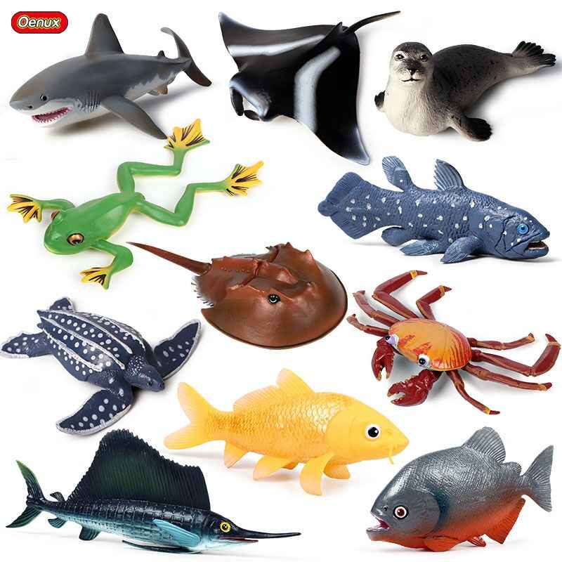 Oenux Ocean Creatures Shark Simulation SeaLife Animals Carb Turtle Action Figures Aquarium Learning Educational Model Kids Toys