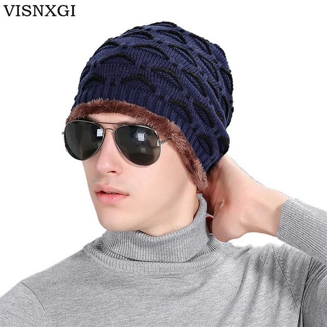 Visnxgi 2018 patrón casual sombrero para hombres Punto de lana ...