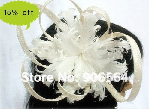 Free shipping wholesale retail the fashion new handmade sinamay hats,feather fascinator hats white color wedding headwear M21
