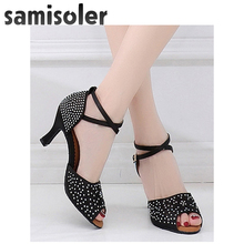 Samisoler Skin Satin Style Ballroom Dance Shoes Women Party ladies Latin shoes tango Professional