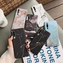 Mermer telefon arka kılıfı için Huawei P20 P30 Mate 20 Pro Lite Nova 4 P akıllı 2019 onur 10 lite desen sert PC tam kapak Coque