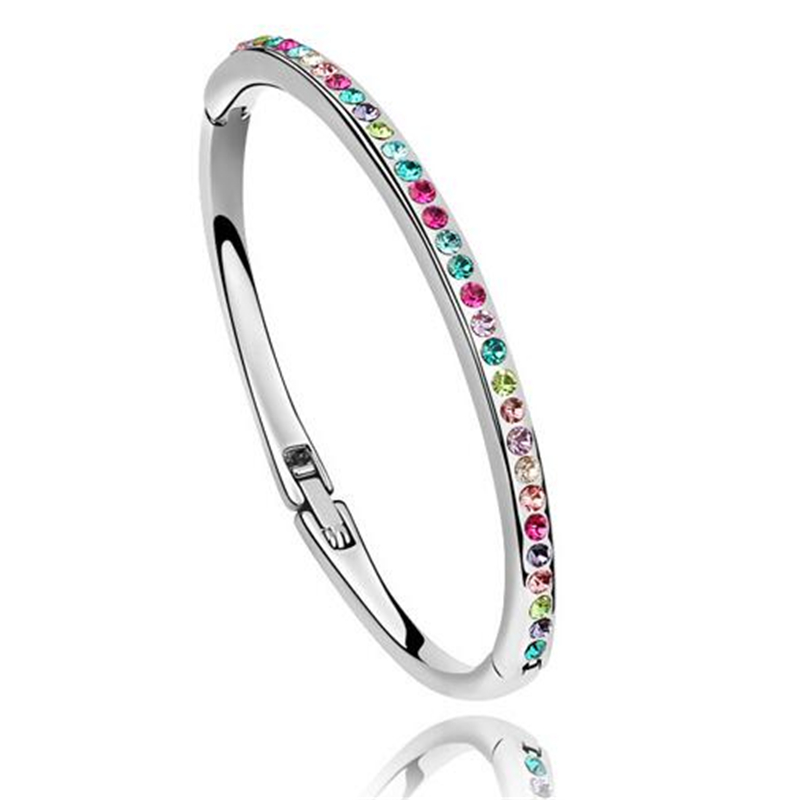 Austrian Crystal Women Bracelets & Bangles Girls Bangles Simple Jewelry Wedding Gifts For Brides Lady Bridal Jewellery 5 Options