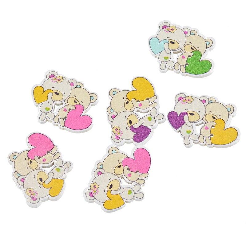 ①30 unids osos con forma de corazón 2 agujeros Botones fit Costura ...