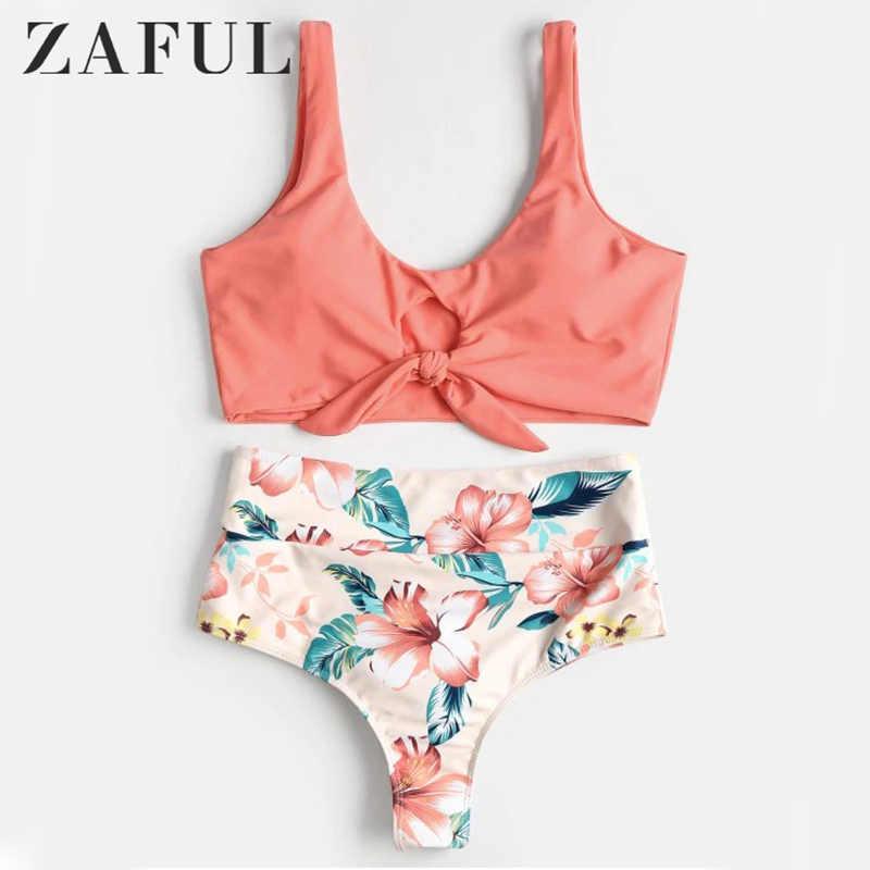 2a5ad14926039 Detail Feedback Questions about ZAFUL High Waist Bikini High Rise Knotted  Women Swimsuit Floral Scrunch Bikini Swimwear Scoop Neck Padded Biquni  Bathing ...