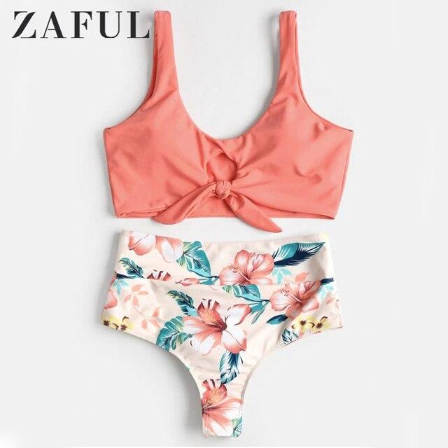 ceca105941d0b8 ZAFUL wysokiej talii Bikini wysoki wzrost wiązane kobiety strój kąpielowy  kwiatowy Scrunch Bikini stroje kąpielowe Scoop