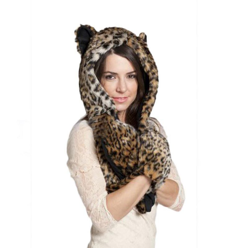 Winter Warm Women Scarves Cap Animal Wolf Tiger Hood Scarf Hat Glove Set Ladies Girls Caps