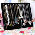 Free shipping Necklace Display Board 17 hooks Sponge inside Chains Storage Board stand holder jewelry wall