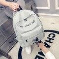 Корейский Холст Рюкзак женщины письмо печати студент школы рюкзак подросток девочка и мальчик junior high school рюкзак mochila