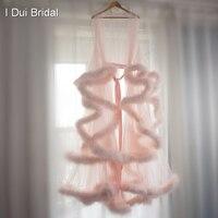Румяна Розовый перо люкс халат Тюль Иллюзия свадебной церемонии подарок