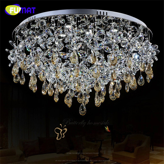 FUMAT K9 Crystal Chandelier Ceiling Lamp Modern Chandelier Living Room Round led light Christmas Crystal Flower Chandliers
