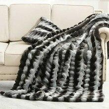 Американский стиль, меховое прикроватное одеяло, большой размер, серое и черное Полосатое одеяло, покрывало для дивана, одеяла для домашних животных, одеяло из искусственного меха