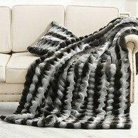 Американский стиль мех прикроватные одеяло, большие размеры серый и черный Полосатый плед, диван покрытие, одеяла, искусственный мех одеяло