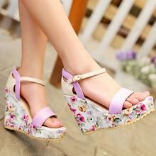 2019 Womens Summer Wedge Sandals Shoes Footwear Floral Printed Purple Blue Beige Single Belt Casual Sweet