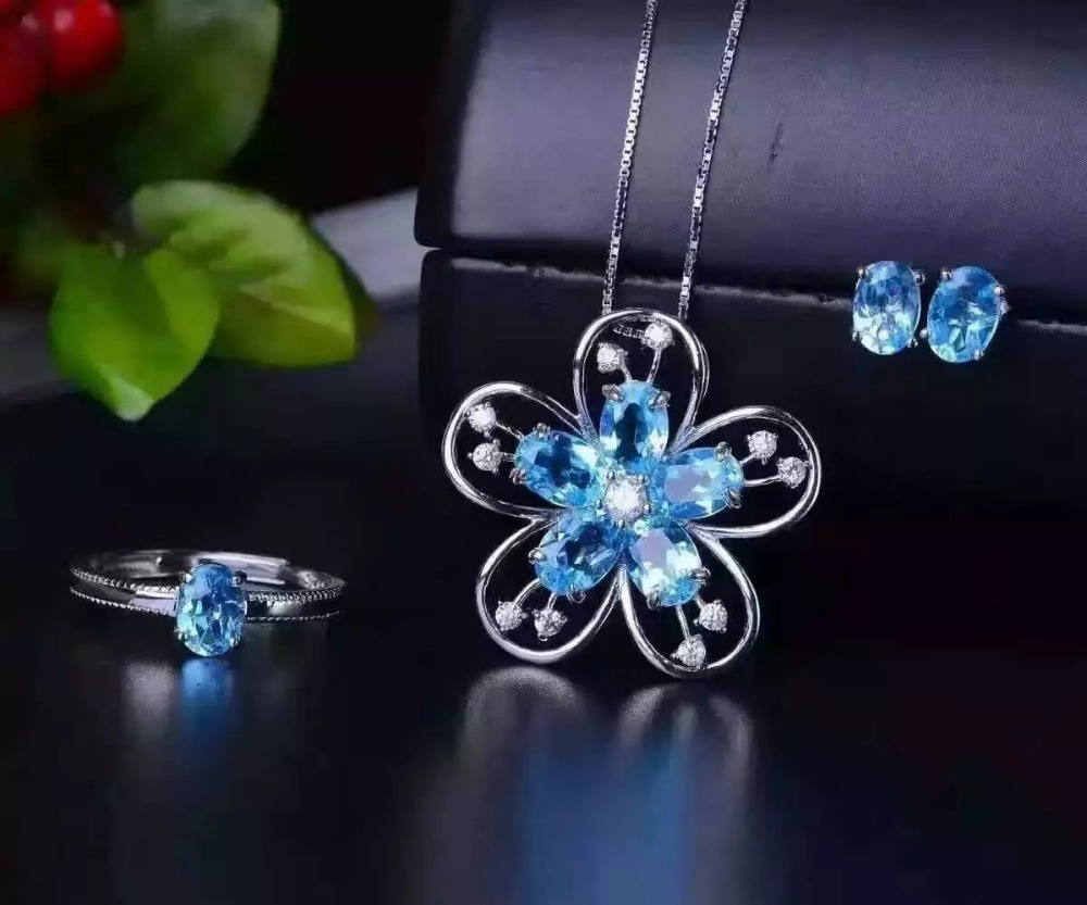 Здесь можно купить  LANZYO 925 sterling silver blue topaz Jewelry Sets Fine Jewelry Ring Necklace Pendant Earring Women Bridal tz050701agb  Ювелирные изделия и часы