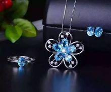 Женские свадебные украшения с голубым топазом lanzyo ювелирное