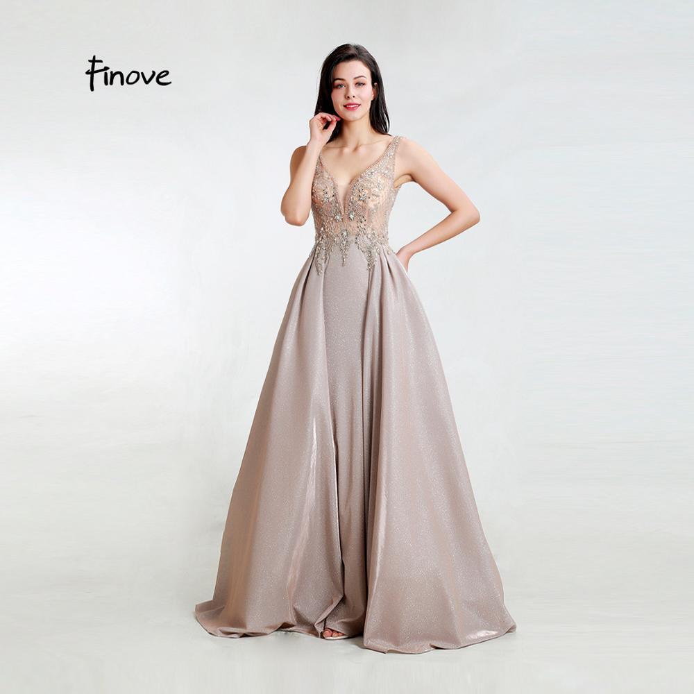 Finove New Evening Dress 2019 Sexy V Neck Reflective Dress Beading Crystal Sequin Long Length A