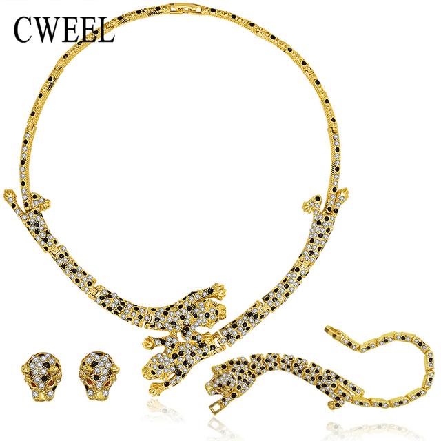 Cweel leopardo imitação de cristal conjunto de jóias para o casamento da forma das mulheres banhado a ouro colar brincos pulseira anéis acessórios