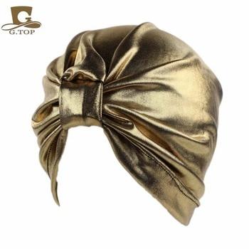 Newest luxury Bronze stretchy Turban Womens Fashion Metallic head wrap cap