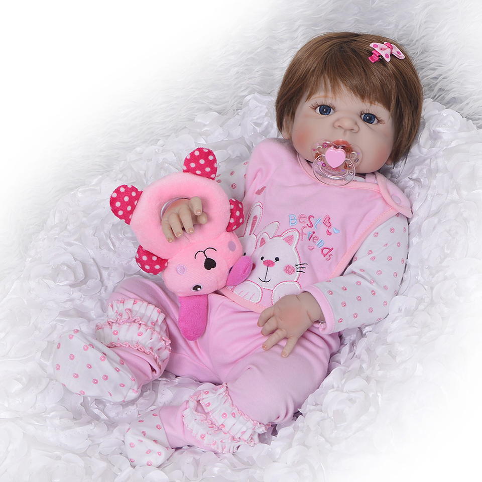 Image 3 - Lifelike Silicone Reborn Baby Menina  23'' Newborn Baby Dolls Full Vinyl body Wear bebe Infant Clothes Truly Kids Playmates-in Dolls from Toys & Hobbies