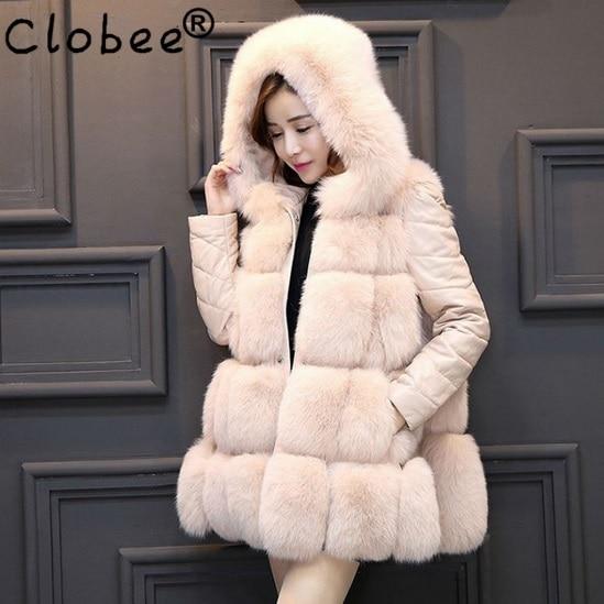 2018 Casaco Fourrure D'hiver Femmes Femme Manteau Gilet Outwear Vestes Fausse Avec Surdimensionné Capuchon De Wa45 Faux prHxfqWwpg