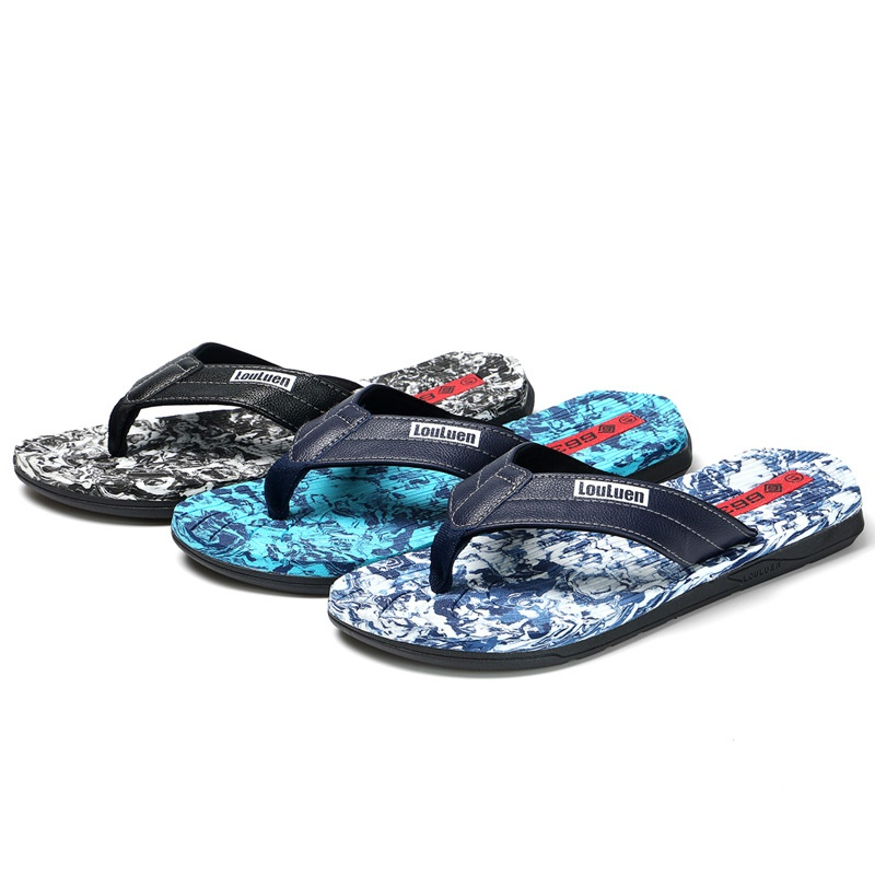 2019 new fashion men slippers beach slippers outdoor sandals flip-flops men male big yards LX030(China)