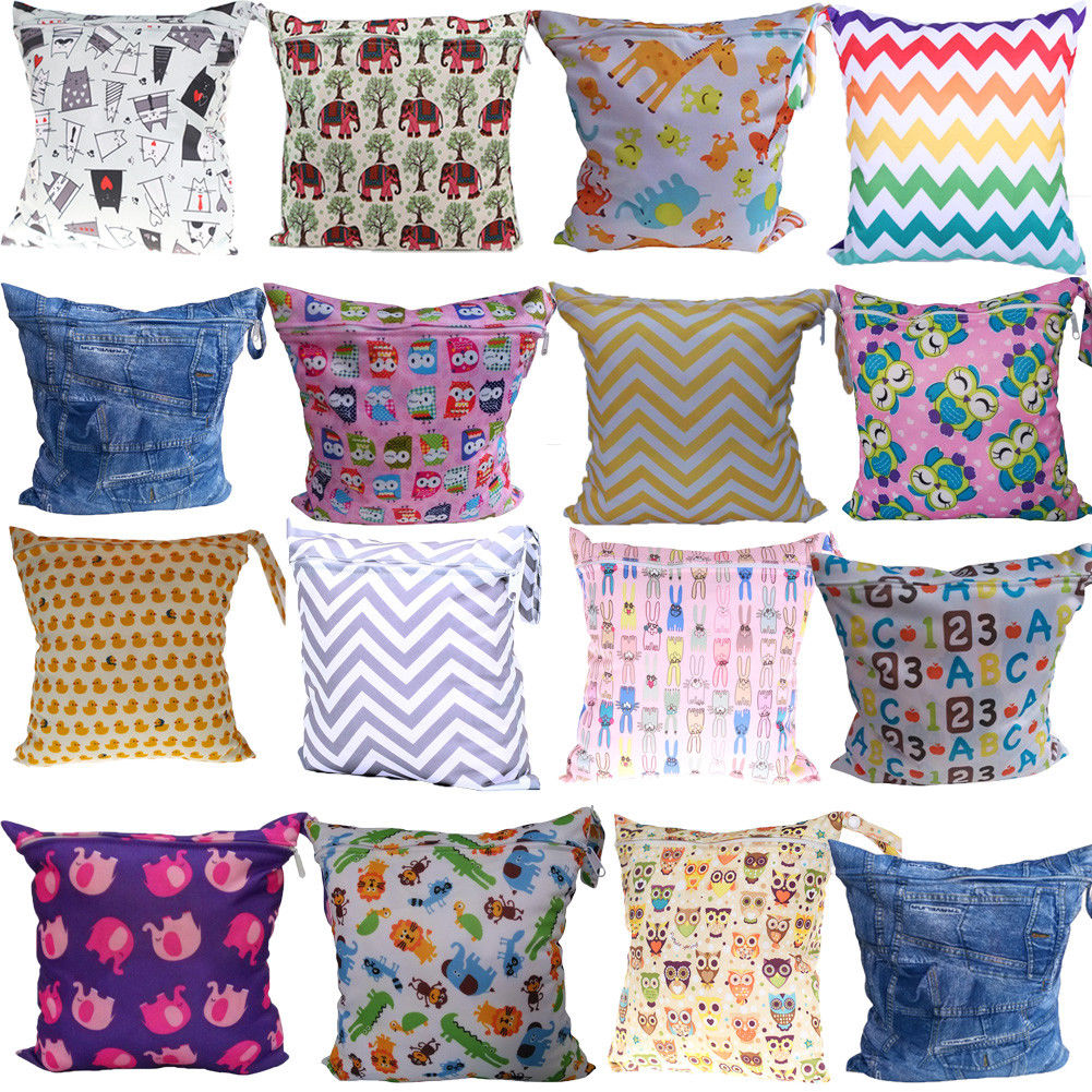 Wet-Dry-Bag Pouch Diaper Baby Waterproof Reusable Cloth Zip for Infant Nappy Convenient