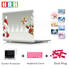 HRH Soft PC Christmas Case For Macbook New Pro 13 with/out Touch Bar A1706 A1989 A1708 A1988 Lovely Santa Claus Deer Tree Snow