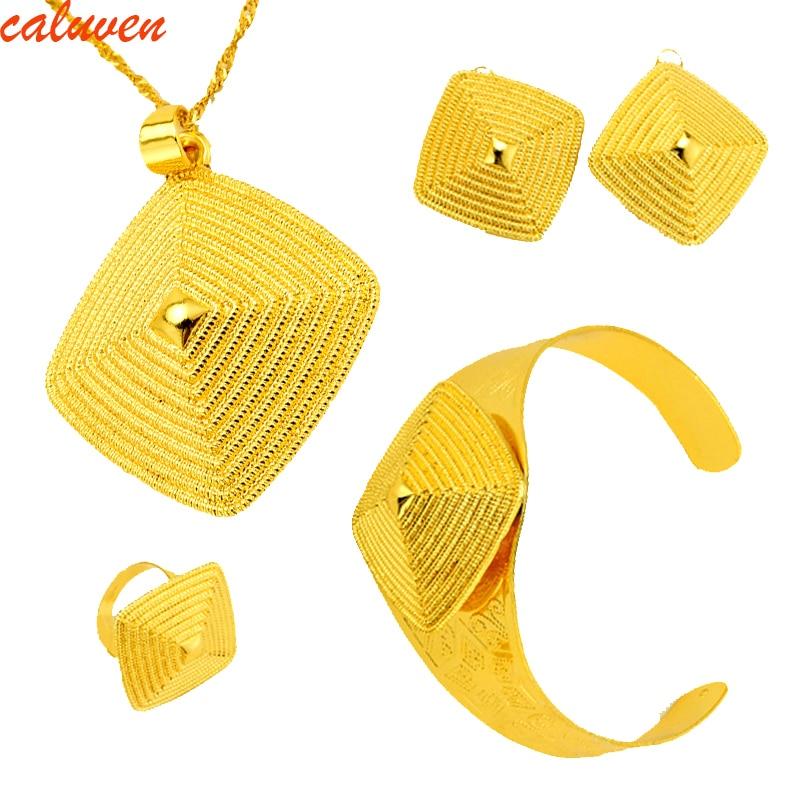 Эфиопский золотые Цвет комплект ювелирных изделий habesha Ювелирные серьги кольцо кулон, браслет винт Кепки Для женщин свадебные камень