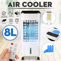 Air Conditioner Cooler Fan Ice Purifier Humidifier Remote Control & Hour Timer 220V Rapid Cooling 8L Water Tank 3 Wind Modes