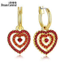 DreamCarnival 1989 Cute Sweet Look 2 Hearts Design Gold Color Red Crystals Fashion Jewelry Super Sales Love Earrings 18E1029(China)