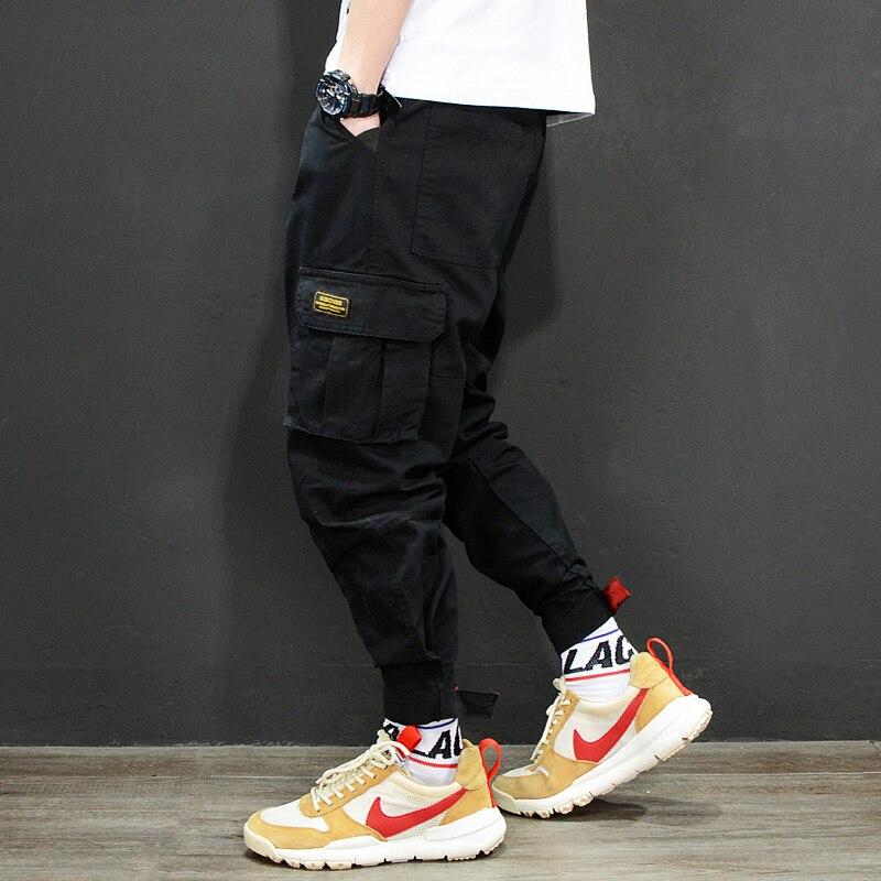 Fashion Japanese Style Mens Jeans Jogger Pants Red Black Green Color Loose Fit Multi Pockets Cargo Pants Men Hip Hop Jeans Homme