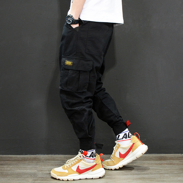 25e5dd2b57e088 Fashion Japanese Style Mens Jeans Jogger Pants Red Black Green Color Loose  Fit Multi Pockets Cargo