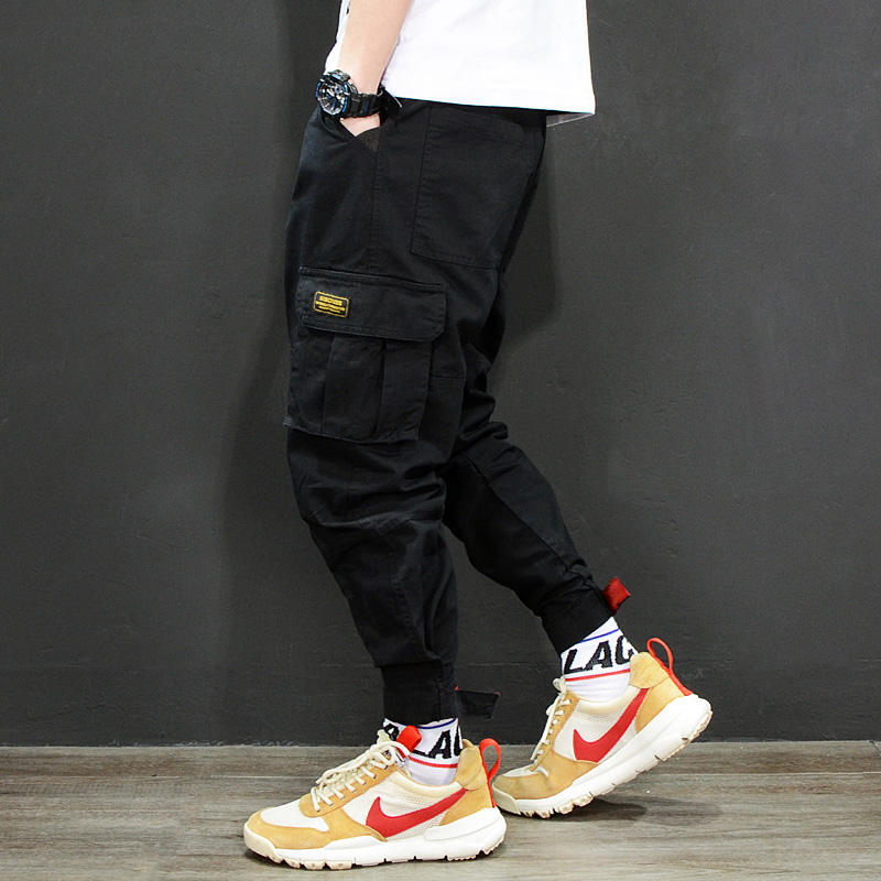 Fashion Japanese Style Mens Jeans Jogger Pants Red Black Green Color Loose Fit Multi Pockets Cargo Pants Men Hip Hop Jeans Homme