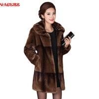 MS Изысканная модная теплая зимняя шуба из меха норки хорошего качества шуба женская мать пальто с длинным рукавом