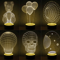 Wood 3D Vision Stereo Lamp LED Decorative Lamp Personalized Bedroom Living Room Atmosphere Lamp Romantic Gifts