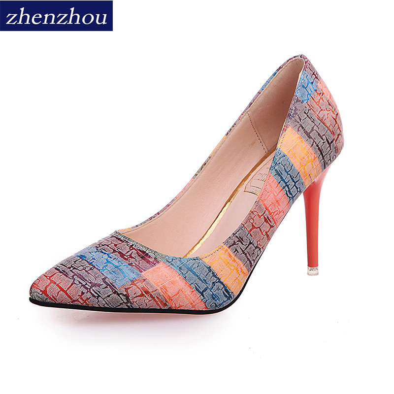 Free shiping shoes Woman 2017 autumn fashion new style thin heels pointed toe Work shoes single shoes Rainbow color High heels s 2015 autumn korean style pointed shoes with thin heels original glass double peach heart design shoes leather shoes