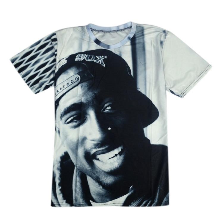 Helt ny sommer 2pac T-skjorte 3D Kortermet O Neck Thug Life Print - Herreklær