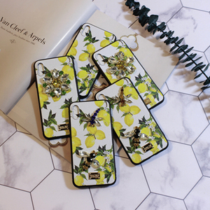 Image 5 - Aoweziic Hot Flower lemon For iPhone X XS MAX XR mobile phone shell Dragonfly butterfly 6S 7 8Plus water drill protection sleeve