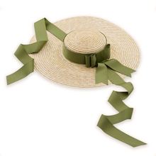 Summer Wide Brim Straw Hat Flat Top Boater 15cm Beach Sun Women with Ribbon Tie Travel UV Protect Cap M230