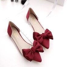 2017 Новый Квартиры Сладкий бантом цветы прозрачный край моды указал обувь женские красные свадебные Женской Обуви