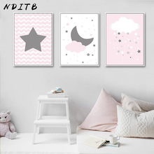 NDITB Moon Starts Nursery Canvas Art Poster Print Cartoon Minimalist Painting Nordic Decoration Wall Picture for Living Room